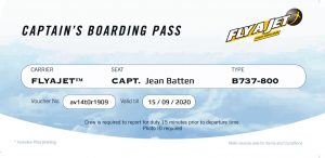 FLYAJET Captain's Boarding Pass